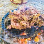山林ひとり肉パーティー開催。囲炉裏で肉を焼く。